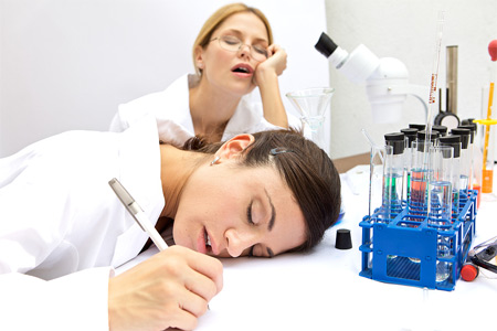 bored lab technicians